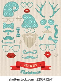 Christmas fashion silhouette set on knitting texture hipster style. illustration icons