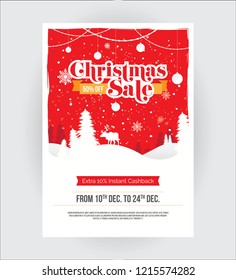 Christmas Festival Offer Poster Flyer Design Layout Template with 50% Discount Tag