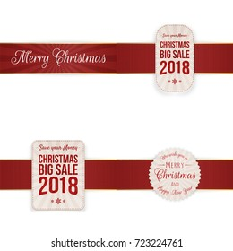Christmas festive Banners with red Ribbon
