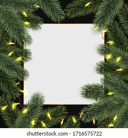 Christmas  Festive border. Realistic pine branch and  space for text. Vector illustration