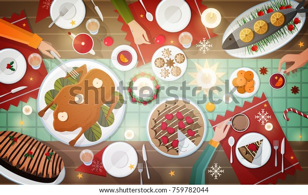 Christmas festive dinner. Delicious traditional holiday meals lying on plates and hands of people eating them. Decorated table with tasty dishes, top view. Colorful cartoon vector illustration.