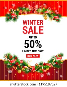Christmas Festive holiday template. Winter sale off template with fir tree and decorations. Seasonal advertising for banner, poster, leaflet and so on.