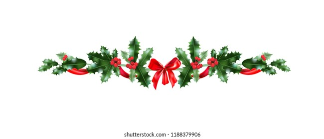 Christmas festive holly decoration. Holiday nature design element for design banner, ticket, poster, invitation or card, leaflet and so on.