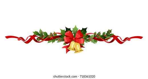 Christmas festive poinsettia decor with bell. Holiday image for design banner, ticket, invitation or card, leaflet and so on.