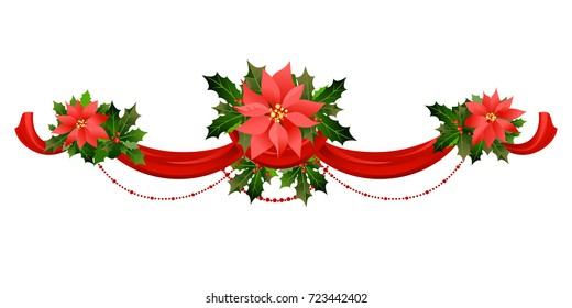 Christmas festive poinsettia frame. Holiday image for design banner, ticket, invitation or card, leaflet and so on.