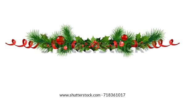 Christmas festive poinsettia and christmas tree decor. Holiday image for design banner, ticket, invitation or card, leaflet and so on.