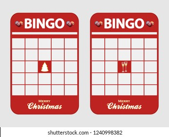 Christmas Festive Red Blank Bingo Cards Decorated with Christmas Tree Champaign Glasses and Merry Christmas Text Over White Background