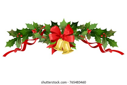 Christmas festiveholly design elements. Holiday image for design banner, ticket, invitation or card, leaflet and so on. Nature holly branches with bell and ribbon.