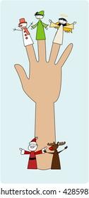 Christmas finger puppets