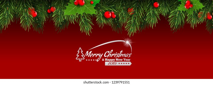 Christmas with fir branch border frame on top of pink wooden background. Vector illustration for greeting card.