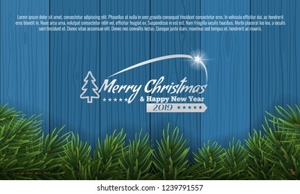 Christmas with fir branch border frame on bottom of blue wooden background. Vector illustration for greeting card.