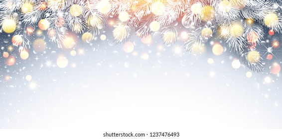 Christmas Fir Branch with Warm Light and Bright Highlights. Vector illustration