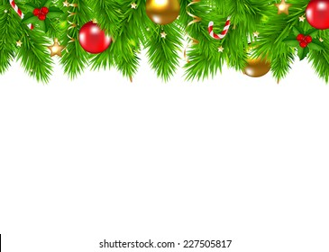Christmas Fir Tree Border With Gradient Mesh, Vector Illustration