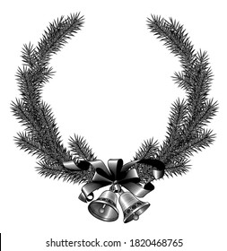 Christmas fir tree frame with bells and ribbon isolated on white. Vintage engraving stylized drawing. Vector illustration