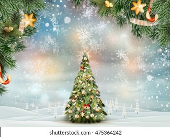 Christmas fir tree on winter landscape. EPS 10 vector file included