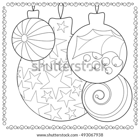 Christmas Fir Tree Ornament Coloring Page Stock Vector (Royalty Free ...