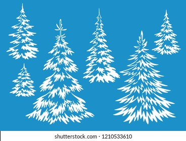 Christmas Fir Trees, Symbolical Winter Holiday Pictograms, White Contours on Blue Background. Vector