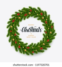 Christmas fir wreath background, realistic look, with berries, star and pearl decorations