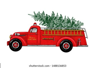 Christmas fire engine. Vintage Fire Truck with a Christmas tree on a white background. Retro card. Color sketch.