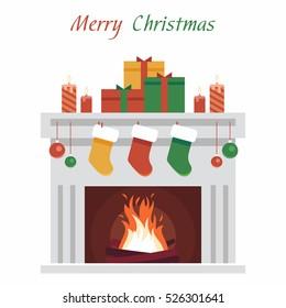 Christmas fireplace.