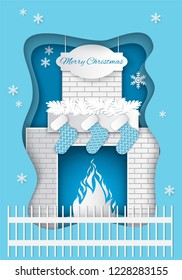 Christmas fireplace with burning fire, decorated by Santa socks and fir tree branches. Vector paper cut greeting card with brick chimney and snowflakes