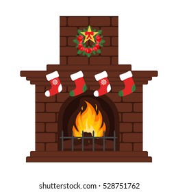 Christmas fireplace in colorful cartoon flat style. Christmas eve, our stockings. Merry Christmas and happy New year. Vector.