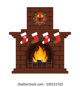 Christmas fireplace in colorful cartoon flat style. Christmas eve, stockings and gift. Merry Christmas and happy New year. Flat design. Vector.