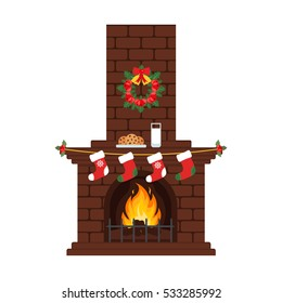 Christmas fireplace in colorful cartoon flat style. Milk and cakes, stockings. Merry Christmas and happy New year. Vector.