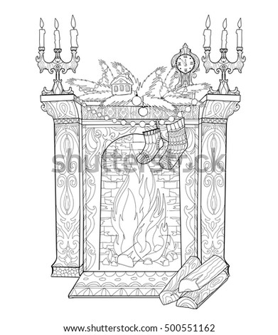 christmas fireplace decorated christmas coloring book page for adult coloring book vector illustration in