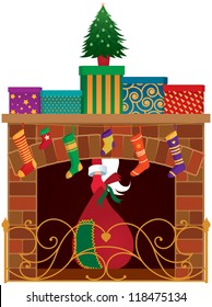 Christmas fireplace, gifts and Santa Claus vector illustration