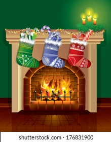 Christmas fireplace with gifts (vector)