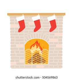 Christmas fireplace with hanging christmas stockings. Vector illustration.