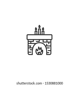 Christmas fireplace line icon in simple design on a white background