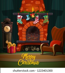 Christmas fireplace in room interior with Xmas and New Year winter holidays gifts, Santa stockings and fir tree garland, chairs, clock and candle, holly and bell. Merry Christmas vector design