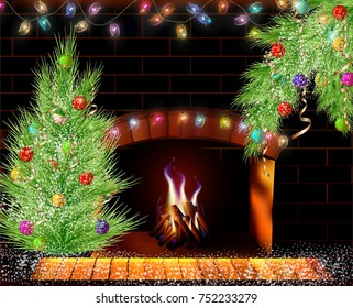 Christmas Fireplace with a Christmas tree