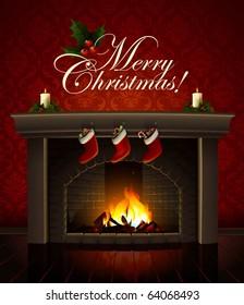 Christmas fireplace  vector image
