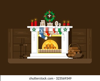Christmas Fireplace Scene Clipart.Christmas Fireplace Scene Stock Illustrations Images