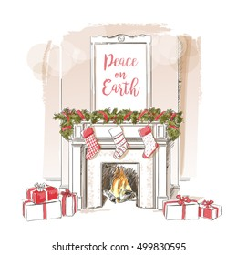 Christmas fireplace. Xmas and fire, home decoration, interior for celebration vintage vector isolated sketch hand drown