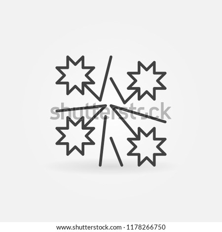 Christmas Fireworks Vector Outline Icon Firework Stock Vector