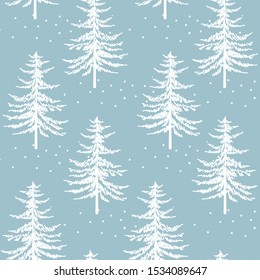Christmas firs seamless pattern. New year hand drawing graphic fir background, noel watercolor vector print, winter holiday decoration, white on blue christmas trees background