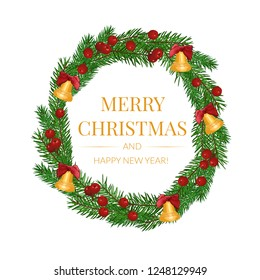 christmas fir-tree wreath isolated on white background