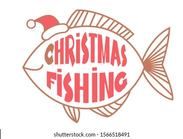 Christmas fishing card background with text and fish in Santa hat. Vintage winter image illustration
