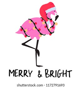 Christmas flamingo with garland and Santa's hat