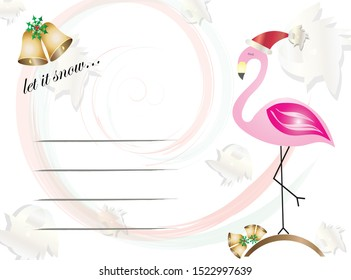 Christmas flamingo - let it snow - Christmas card vector with empty lines to write