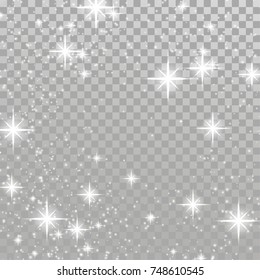 Christmas flash concept silver white light shimmering effect. Star Magical Glow background transparent Decoration over checkered layout. Vector illustration