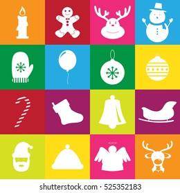Christmas flat color icons set