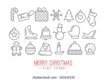 Christmas flat icons drawing with grey thin lines on white background
