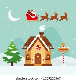 Christmas - Flat Illustration - Santa Claus Flying in a Sled with Reindeers over a North Pole House on Blue Background