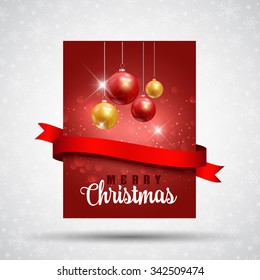 Christmas flier design with baubles and red ribbon