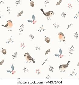 Christmas flora seamless  pattern with cute little birds.